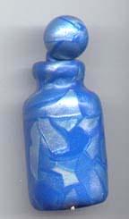 blue and pearl polymer clay bottle.