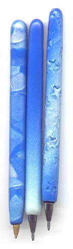 blue and pearl polymer clay pens.