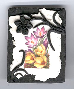 decoupaged crocus stamp