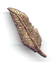 Polymer clay feather pin.