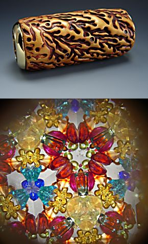Miniature textured polymer clay kaleidoscope