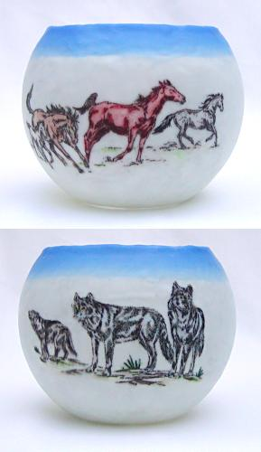 votive with wild horses and wolves