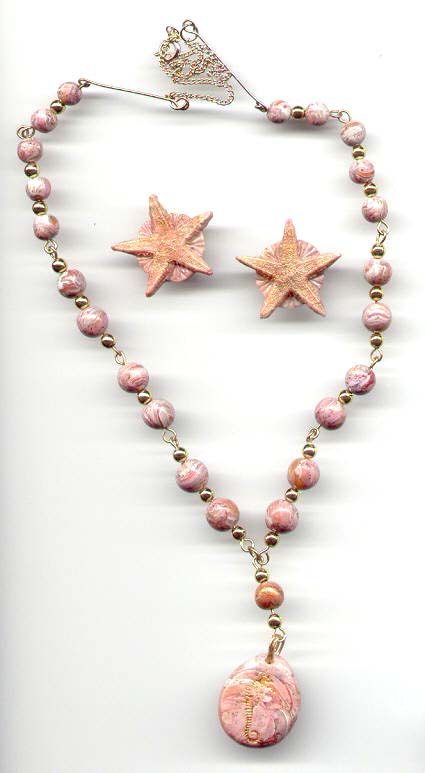 Polymer clay pink marble necklace.