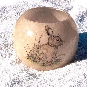 polymer clay rabbit transfer votive