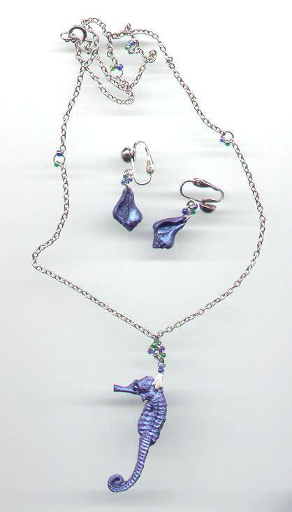 Polymer clay seahorse necklace.